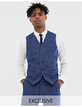 Heart & Dagger Skinny Fit Suit Vest In Blue Dogstooth by Heart & Dagger