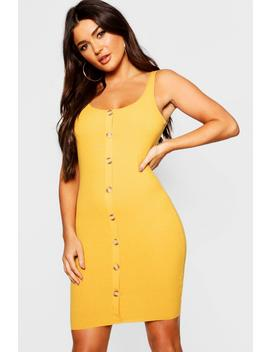 Button Front Ribbed Midi Dress by Boohoo