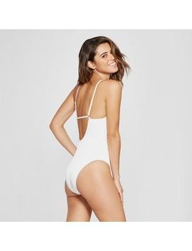 Women's Scoop Ribbed Tank One Piece Swimsuit   Xhilaration™ White by Xhilaration™