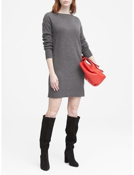 Petite Wool Cashmere Blend Boat Neck Sweater Dress by Banana Repbulic
