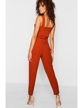 Topstitch Mixed Size Button Jumpsuit by Boohoo
