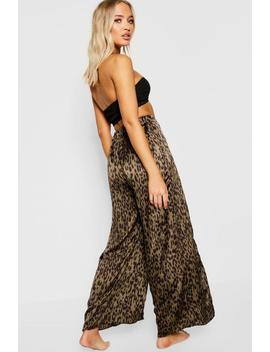 Leopard Split Leg Beach Trousers by Boohoo
