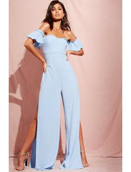 Bardot Gathered Sleeve Wide Leg Jumpsuit by Boohoo