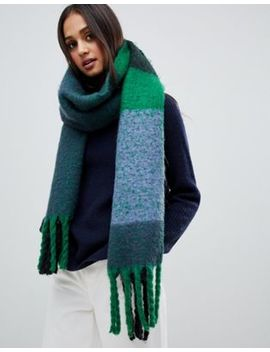 Stitch & Pieces Blue Mix Brushed Check Tassel Scarf by Stitch & Pieces