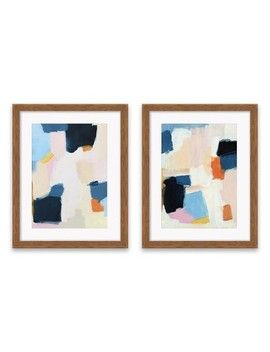 "Set Of 2 16.25""X20.25"" Blue And Pink Abstract Framed Print Decorative Wall Art   Project 62™ by Project 62™"