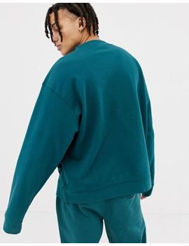 Mennace Oversized Sweatshirt In Green With Script Logo by Mennace