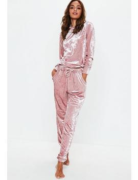 Survêtement Loungewear Rose En Velours by Missguided
