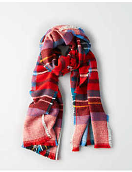 Aeo Lightweight Colorful Plaid Blanket Scarf by American Eagle Outfitters