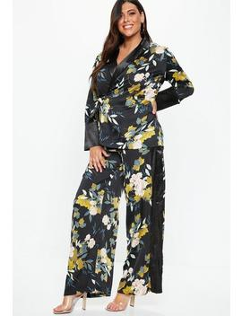 Plus Size Floral Print Wide Leg Side Stripe Pants by Missguided
