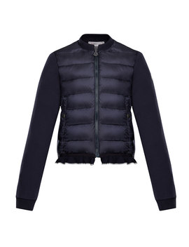Quilted Bodice Jacket W/ Knit Trim, Size 8 14 by Moncler