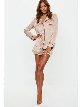 Pyjama En Satin Rosé à Bordures Noires by Missguided