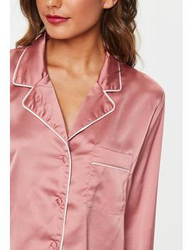 Pyjama Court Rose Bordures Contrastantes by Missguided
