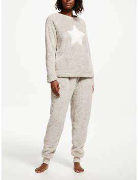 John Lewis & Partner Furry Star Twosie Pyjama Set, Ivory by John Lewis & Partner
