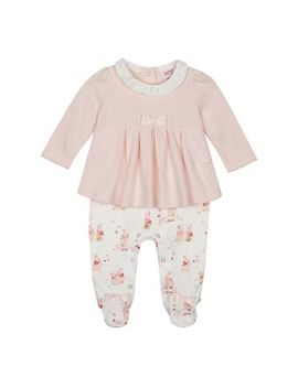 Baker By Ted Baker   Baby Girls' Pink Bunny Print Mock Rompersuit by Baker By Ted Baker