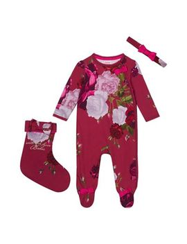Baker By Ted Baker   Baby Girls' Dark Pink Sleepsuit, Headband And Stocking Set by Baker By Ted Baker