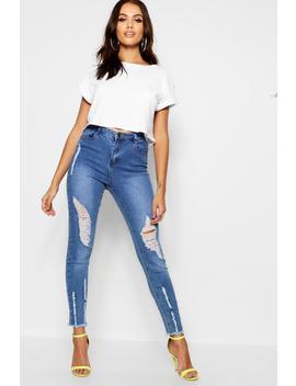 High Rise Distressed High Waist Skinny Jean by Boohoo