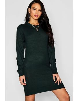 Crew Neck Long Sleeve Dress by Boohoo