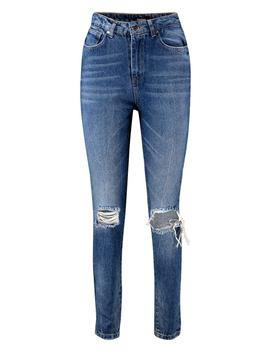 High Rise Distressed Mom Jeans by Boohoo
