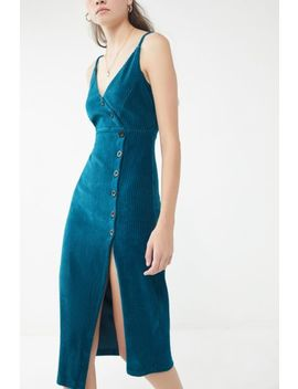 Uo Cassie Ribbed Velvet Button Front Dress by Urban Outfitters