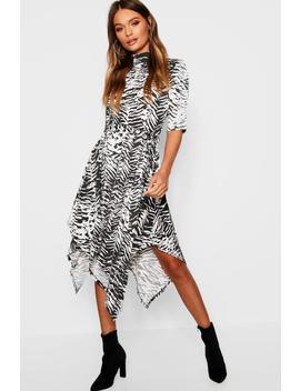 Zebra Print Hanky Hem Midi Dress by Boohoo