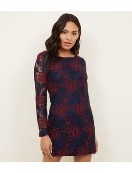 Mela Navy Floral Lace Long Sleeve Dress by New Look