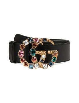 Gg Marmont Crystal Buckle Leather Belt by Gucci