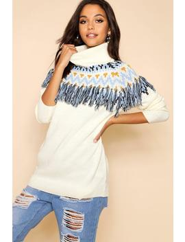 Roll Neck Fringe Knitted Jumper by Boohoo