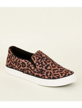 Stone Leopard Print Canvas Slip On Trainers by New Look