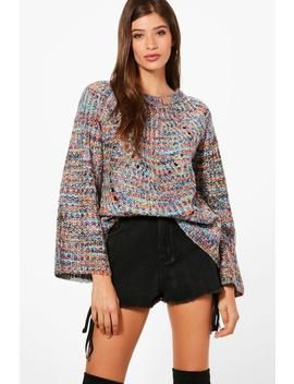 Kerry Space Dyed Flared Sleeve Jumper by Boohoo