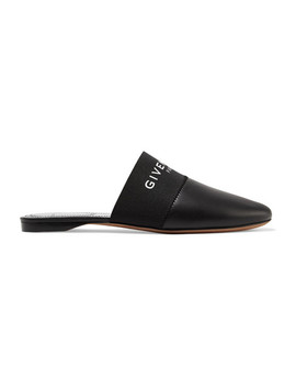 Bedford Logo Print Leather Slippers by Givenchy