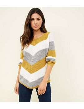 Cameo Rose Mustard Chevron Stripe Jumper by New Look