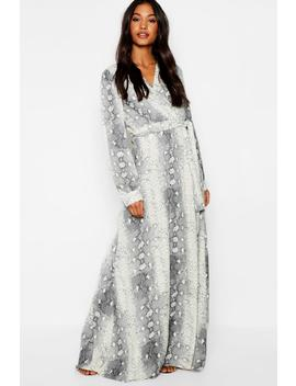 Snake Print Belted Woven Maxi Dress by Boohoo