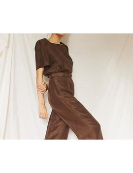 Vintage Brown Silk Two Piece Set With Belt by Etsy