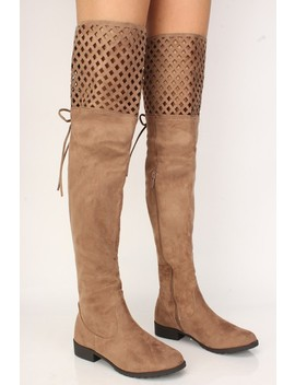 Sexy Taupe Perforated Thigh High Flat Boots Faux Suede by Ami Clubwear