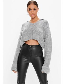 Grey V Neck Cropped Knitted Hoodie by Missguided