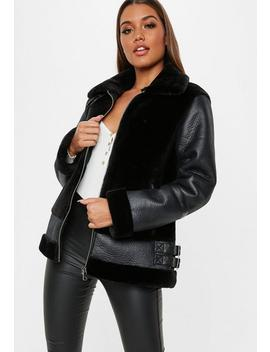 Petite Black Faux Fur Ultimate Aviator Jacket by Missguided