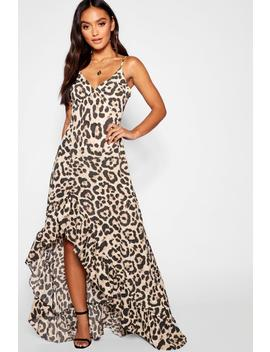 Petite Leopard Strappy Ruffle Dress by Boohoo