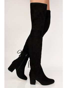 Sexy Black Lace Up Back Chunky High Heels Thigh High Boots Faux Suede by Ami Clubwear