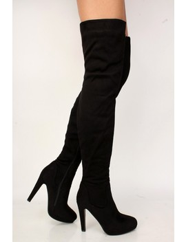 Sexy Black Platform Chunky High Heels Thigh High Boots Faux Suede by Ami Clubwear