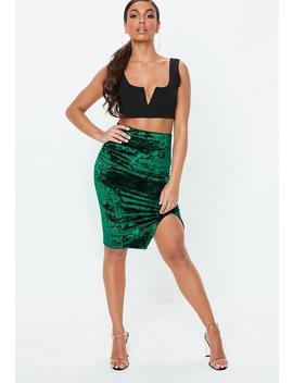Green Velvet Split Front Midi Skirt by Missguided