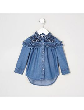 Mini Girls Blue Frill Denim Swing Shirt by River Island