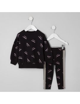 Mini Girls Black 'Paris' Sweatshirt Outfit by River Island