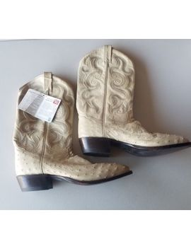 Vintage Tony Lama Size 12 B Boots White With Ostrich Great Condition by Tony Lama