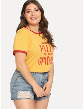 Plus Letter Print Ringer Tee by Shein
