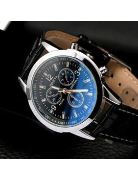 Fashion Men's Leather Military Casual Analog Quartz Wrist Watch Business Watches by Unbranded