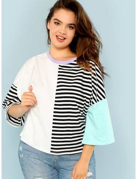 Plus Cut And Sew Striped Tee by Shein
