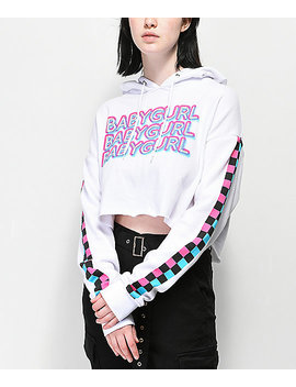 A Lab Zaira Babygurl Checkerboard Crop Hoodie by A Lab