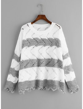 Plus Two Tone Loose Knit Sweater by Shein
