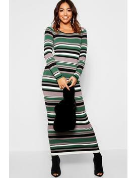 Horizontal Stripe Knit Maxi Dress by Boohoo