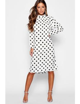 Petite Spot Print High Neck Midi Dress by Boohoo
